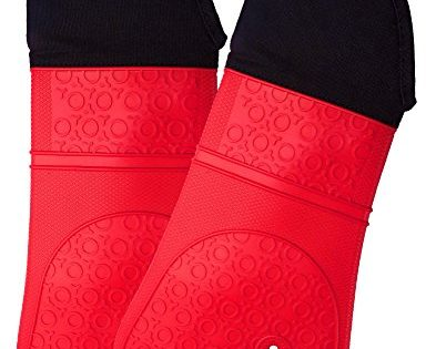 Homwe - Red - Extra Long Professional Silicone Oven Mitt - Oven Mitts with Quilted Liner - 1 Pair