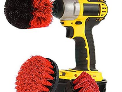 Original EZ Scrub Drill Brush 3 Piece Set Red - All Purpose Power Scrubber Cleaning Brush for Grout, Floor, Bathroom Tile, Kitchen, Outdoor