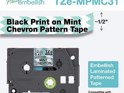 Brother International Brother P-Touch Embellish Black Print on Mint Chevron TZEMPMC31 Pattern Tape,