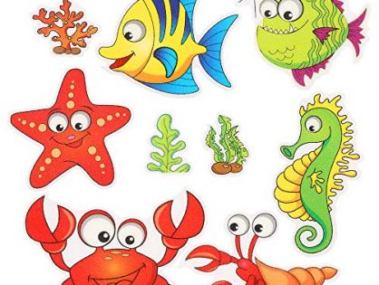 Pack of 9,Non Slip Bathtub Stickers,Adhesive Decals with Bright Colors,Ideal Large Appliques for Your Family's Safety,Suit for Bath Tub,Stairs,Shower Room & Other Slippery Surfaces.Shrimp and Crab