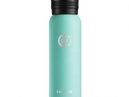 CAMBIVO Water Bottle with Extra Lid 20, 24, 32, 64 oz, Stainless Steel and Double Wall Vacuum Insulated, Standard or Wide Mouth with BPA Free Cap Seafoam 20oz