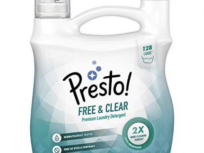 Presto! Concentrated Liquid Laundry Detergent, Free & Clear, 128 Loads, 96 Fl Oz - Amazon Brand