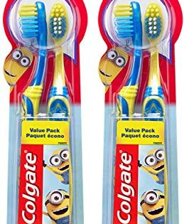 4 Count - Colgate Kids Toothbrush with Extra Soft Bristles, Minions