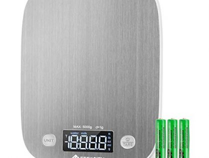 Etekcity Kitchen Food Scale Digital Weight Grams and Oz, LED Backlit Display AAA Battery, Stainless Steel, Silver