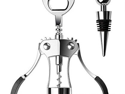 Wing Corkscrew Wine Opener and Bottle Stopper, ITENETI Two-in-one Wine and Beer Opener, Bar and Kitchen Tools, Stainless Steel and Zinc Alloy, Exquisite Gift Packaging Box, Silver