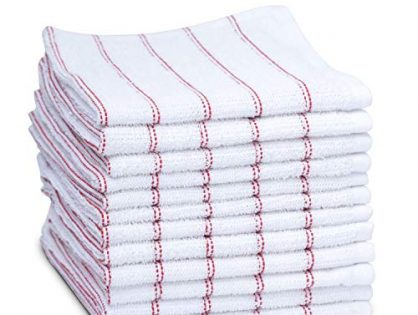maspar Dish Towels, 100% Cotton, 12 x12 inch, White with Red Stripe, Terry, Woven, Absorbent, Quick Dry, Chemical Free, Machine Washable, 12 Pack Set