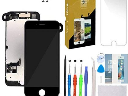 """for iPhone 7 Plus Screen Replacement 5.5"""" Black LCD Display with 3D Touch Screen Digitizer Full Assembly + Front Camera + Earpiece + Free Screen Protector + Repair Tools Kit Black"""