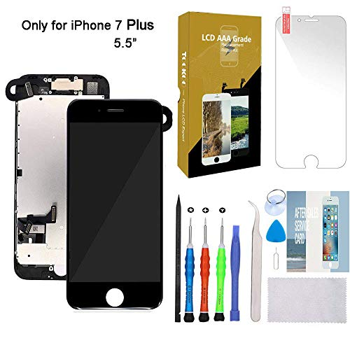 "for iPhone 7 Plus Screen Replacement 5.5"" Black LCD Display with 3D Touch Screen Digitizer Full Assembly + Front Camera + Earpiece + Free Screen Protector + Repair Tools Kit Black"
