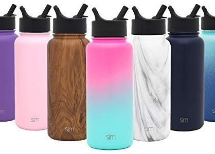 18/8 Stainless Steel Ombre: Sorbet - Simple Modern 14 oz Summit Kids Water Bottle with Straw Lid - Hydro Vacuum Insulated Tumbler Flask Double Wall Liter