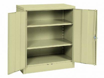 "Sandusky Lee RTA7001-07 Putty Steel SnapIt Counter Height Cabinet, 2 Adjustable Shelves, 42"" Height x 36"" Width x 18"" Depth"