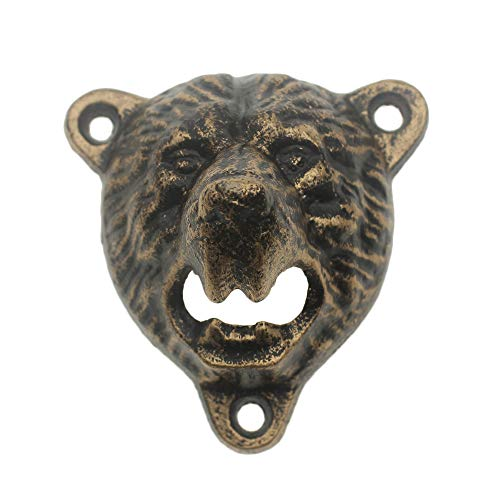 Unique Cast Iron Wall Mount Grizzly Bear Teeth Bite Bottle Opener with 3 Black ScrewsAntique Gold Bear