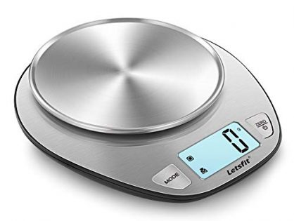 Letsfit Digital Kitchen Scale, Multifunction Food Scale and LCD Screen Display, Stainless Steel, Capacity Range from 0.1oz 1g to 11lbs 5000g, Batteries Included