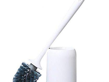 Glendan Toilet Brush and Holder Upgraded Modern Design with Kinsky Strong Bristles,Bathroom Toilet Bowl Cleaner Brush Set,Toilet Cleaning Brush Kit Grey-Flooring