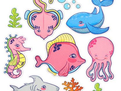 Pack of 10,Non Slip Bathtub Stickers,Adhesive Decals With Bright Colors,Ideal Large Appliques For Your family's Safety,Suit for Bath Tub,Stairs,Shower Room & Other Slippery Surfaces.Sea Fish