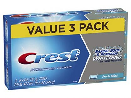 Crest Baking Soda & Peroxide Whitening With Tartar Protection Toothpaste, Fresh Mint, 6.4 Oz, 3 Count
