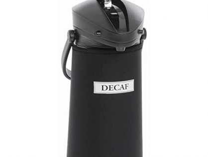 "JavaSuits Airpot CoverThermal Coffee Dispenser CoverWhite Decaf Imprint 2 L Black Neoprene - 11""H"