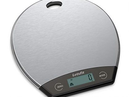 Letsfit Digital Kitchen Scale, Hanging Food Scales with LCD Display, Stainless Steel, 0.1oz 1g to 11lbs 5000g, Battery Included