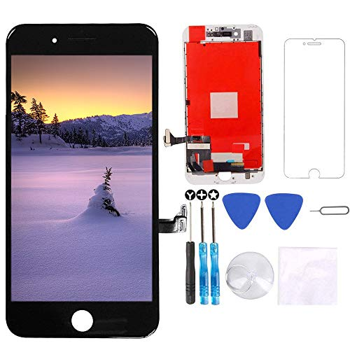 for iPhone 8 Plus Screen Replacement Black 5.5 inch - 3D Touch LCD Display & Touch Screen Digitizer Frame Assembly Set with Repair Tool Kit + Free Screen Protector