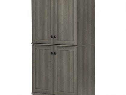 South Shore Hopedale Tall 4-Door Storage Cabinet with Adjustable Shelves, Gray Maple