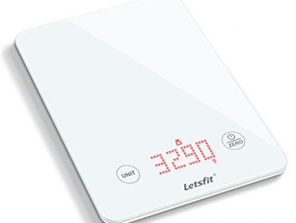 Letsfit Digital Kitchen Scale, Multifunction Food Scale and LED Screen Display, Glass Platform, Capacity Range from 0.1oz 1g to 11lbs 5000g, Batteries Included