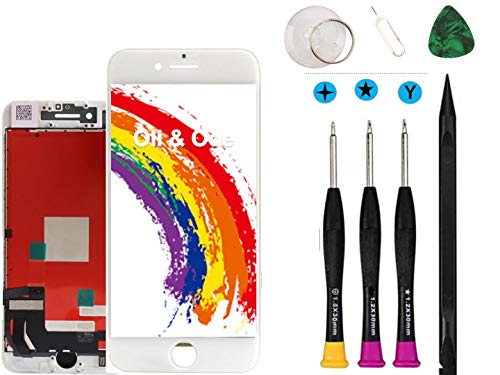 Oli & Ode Compatible with iPhone 8 Plus Screen Replacement White 5.5 Inch, LCD Digitizer Touch Screen Assembly Set, Repair Tools Set Included A1863/A1905/A1906