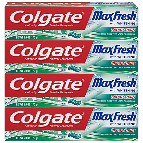 6 ounce 4 Pack - Colgate Max Fresh Whitening Toothpaste with Breath Strips, Clean Mint