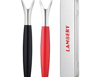 Tongue Scraper Cleaner, Premium Medical Stainless Steel, 2PCS with Metal Case, Dental Oral Hygiene, Erase Bad Breath and Tongue Grime, by Lambery