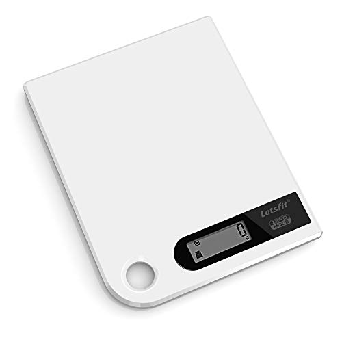 Letsfit Digital Kitchen Scale, Food Scale Grams and Ounces, Ultra Slim Size, Large Capacity 11lb 5kg, Battery Included
