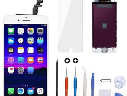 iPhone 6 Screen Replacement White,Goldwangwang 4.7inch LCD Touch Screen Digitizer Replacement Fully Frame Display Assembly Set with Repair Tool kit + Tempered Glass Screen Protector + Instruction