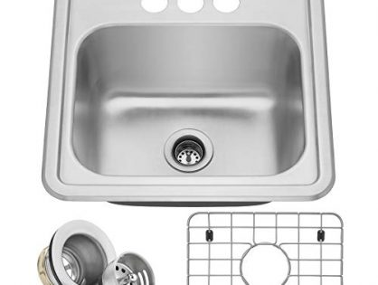 "Includes Drain/Grid - Miligore 15"" x 15"" x 6"" Deep Single Bowl Top-Mount Drop-in 22-Gauge Stainless Steel Bar/Prep/Utility Sink"