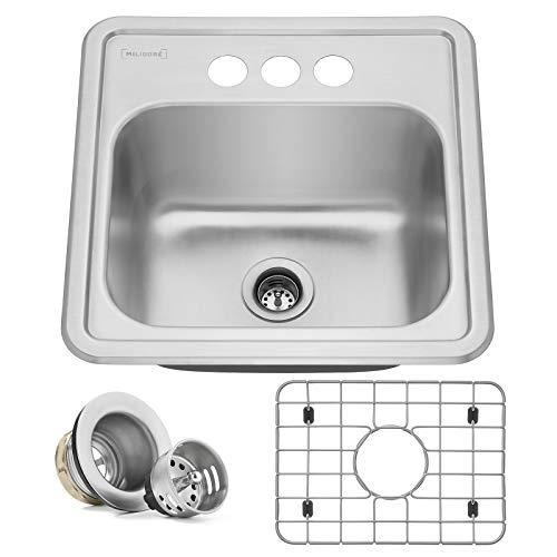 "Includes Drain/Grid - Miligore 15"" x 15"" x 6"" Deep Single Bowl Top-Mount Drop-in 22-Gauge Stainless Steel Bar/Prep/Utility Sink"