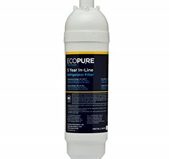 """EcoPure EPINL30 5 Year in-Line Refrigerator Filter-Universal Includes Both 1/4"""" Compression and Push to Connect Fittings"""