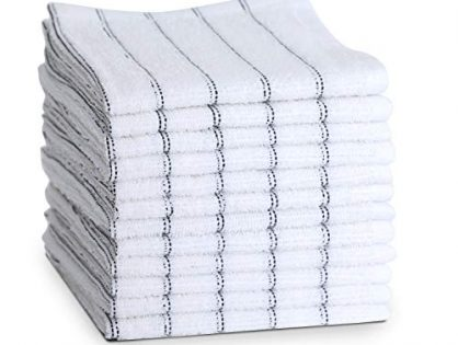 Maspar Dish towels, 100% cotton, 12 x12 inch, White with Black stripe, Terry, Woven, Absorbent, Quick Dry, Chemical free, Machine Washable, 12 pack set