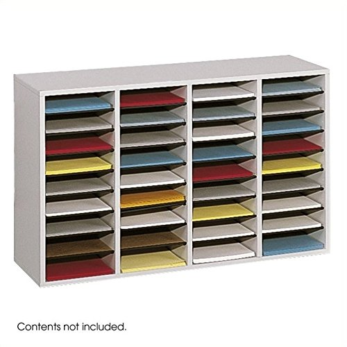 Safco Products Wood Adjustable Literature Organizer, 36 Compartment 9424GR, Gray, Durable Construction, Removable Shelves, Stackable