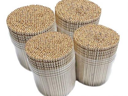 2000 Pieces Cocktail, Sturdy Safe Large Round Storage Box, 4 Packs of 500 Party Appetizer Olive Barbecue Fruit Teeth Cleaning Art Crafts - Makerstep Ornate Wooden Toothpicks