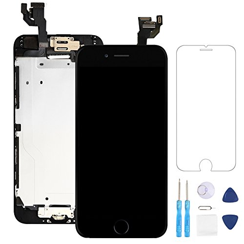 Full Assembly for iPhone 6 Plus Screen Replacement Black LCD Touch Digitizer Display with Front Camera,Ear Speaker,Facing Proximity Sensor with Home Button,Repair Tools