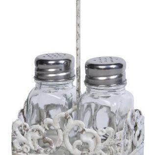 Creative Co-Op DE5795 3 Piece Glass Salt & Pepper Shakers in Metal Caddy