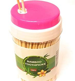 Toothpicks Bamboo, Dispenser. Natural Sturdy Wood, in Plastic Bottle. Double Sided, 300. Kitchen Essentials. Great for Party, Cocktail, appetizers, Olive, Fruit, Teeth Cleaning, Art, Craft, Super Glue