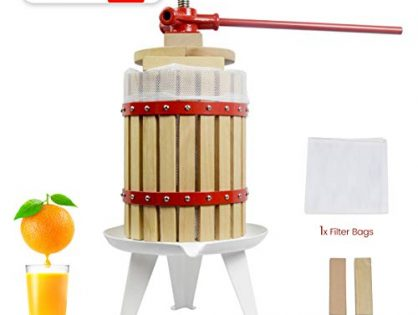 4.75 Gallon Fruit Wine Press - 100% Nature/Healthy Apple&Grape&Berries Crusher Manual Juice Maker for Kitchen, Solid Wood Basket with 2 Blocks Cider Wine Making Press LFGB Certified,Heavy Duty)