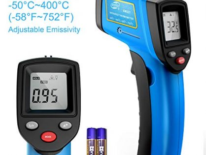 RISWOJOR Laser Infrared Thermometer Non-Contact Digital Temperature Gun,Adjustable Emissivity &MAX/MIN/at/Cal; -58°F~752°F-50°C~400°C IR Thermometer for Industrial,Kitchen Cooking,Ovens