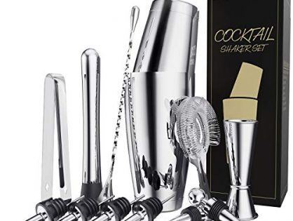 13 Pieces Stainless Steel Boston Cocktail Shaker Bar Set Tools with 28oz/20oz Shaker Tins, Double Measuring Jigger, Mixing Spoon, Liquor Pourers, Muddler, Strainer, Ice Tongs and Bottle Stoppers