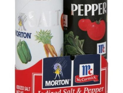 Morton, Iodized Salt & Pepper Shaker Duo Pack, 5.5oz Package Pack of 6