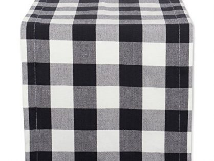 "DII Cotton Buffalo Check Table Runner for Family Dinners or Gatherings, Indoor or Outdoor Parties, & Everyday Use 14x72"",  Seats 4-6 People, Black & White"