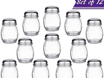 Set of 12 6-Ounce Glass Cheese Shaker with Perforated Top, Swirl Glass Cheese Shaker with Stainless Steel Perforated Lid, Restaurant Cheese and Sugar Shakers by Tezzorio