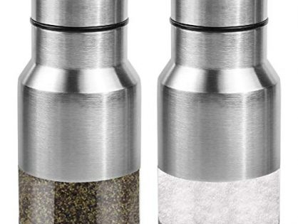 Perfect For Your Favorite Sea, Kosher And Himalayan Salts - Elegant Salt And Pepper Dispenser With Adjustable Pour Holes - Stainless Steel Set Of 2 - Premium Salt And Pepper Shakers
