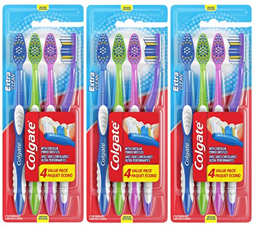 4 Count Pack of 3 - Colgate Extra Clean Full Head Toothbrush, Medium