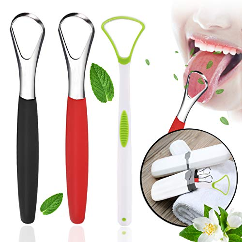 Tongue Scraper Cleaner, 3PCS Tongue Scrapers For Adults Medical Grade Stainless Steel, Tongue Cleaners for Kids with Carrying Case Fresh Breath, Tongue Scrubber For Oral Care 2 Side Style