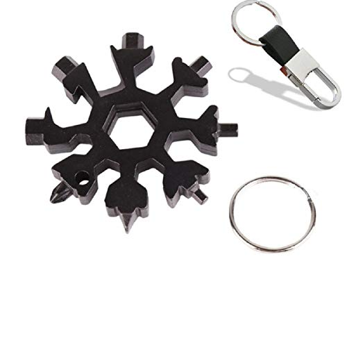 18-in-1 Snowflake Multi-tool, Stainless Combination Compact Portable Outdoor Products Tool Card Keychain Bottle Opener Black