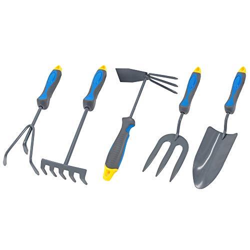 Hortem 5PCS Lightweight Gardening Hand Tools Set- Heavy Duty Comfortable Garden Tools Set Include Garden Trowel, Hand Rake Hoe, Cultivator- Gardening Gifts for Men Women
