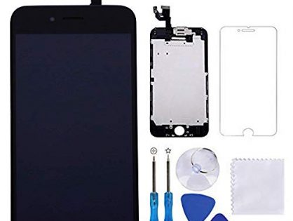 """for iPhone 6 Screen Replacement Black 4.7"""" LCD Display Touch Digitizer Frame Assembly Full Repair Kit, with Proximity Sensor, Earpiece Speaker, Front Camera, Free Screen Protector, Repair Tools"""